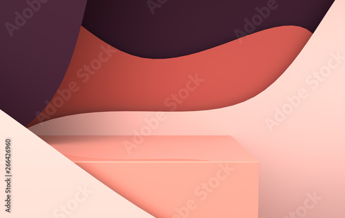 3d rendered scene with paper waves and podium. Platform for product presentation, mock up background. Abstract composition in modern paper art style