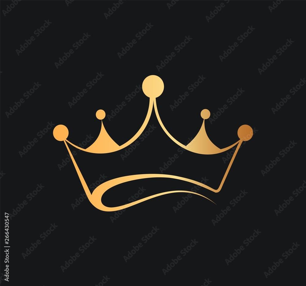 Fototapeta Queens or kings crown vector logo. Golden corona logotype on dark background