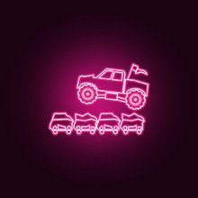 Bigfoot Car Jumping Through Cars Neon Icon. Elements Of Bigfoot Car Set. Simple Icon For Websites, Web Design, Mobile App, Info Graphics