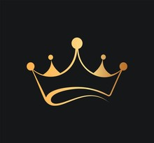 Queens Or Kings Crown Vector Logo. Golden Corona Logotype On Dark Background