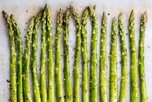 Asparagus Spears On Oven Tray Ready For Roasting