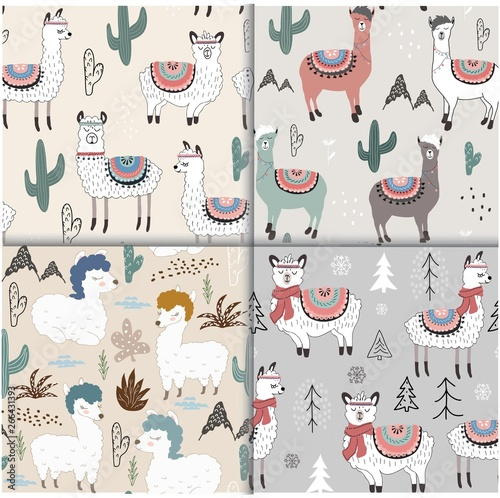 Photo Stands Illustrations Seamless pattern set with llama and cactus. vector illustration for fabric, textile,wallpaper