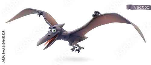Pterodactyl. Pterosaur, flying dinosaur cartoon character. Funny animal 3d vector icon