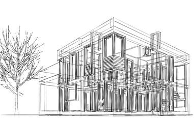 House building architecture 3d illustration