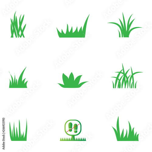 Fotografia, Obraz Green Grass Icons Set - Isolated On White Background