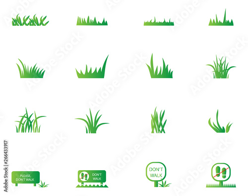 green grass icons set isolated on white background grass vector illustration flat plant vector for logo design lawn symbol herbal and park design cartoon style buy this stock vector and green grass icons set isolated on