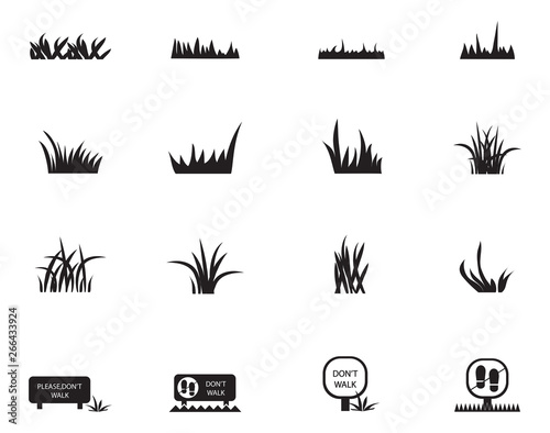 Εκτύπωση καμβά Grass Icons Set - Isolated On White Background