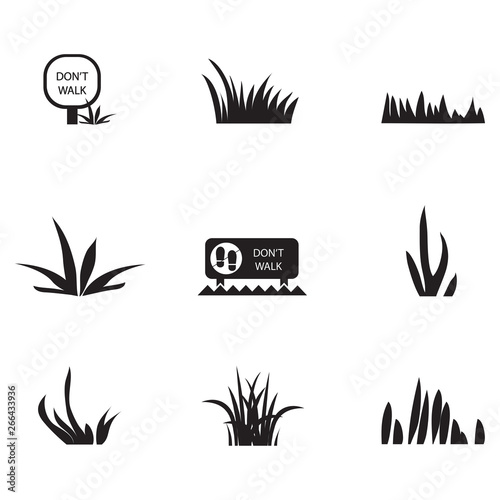 Ταπετσαρία τοιχογραφία Grass Icons Set - Isolated On White Background
