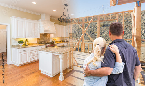 Photo  Couple Facing Construction Framing Gradating To Completed Custom Kitchen