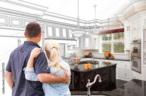 Fototapeta Couple Facing Custom Kitchen Drawing Gradating To Photo obraz