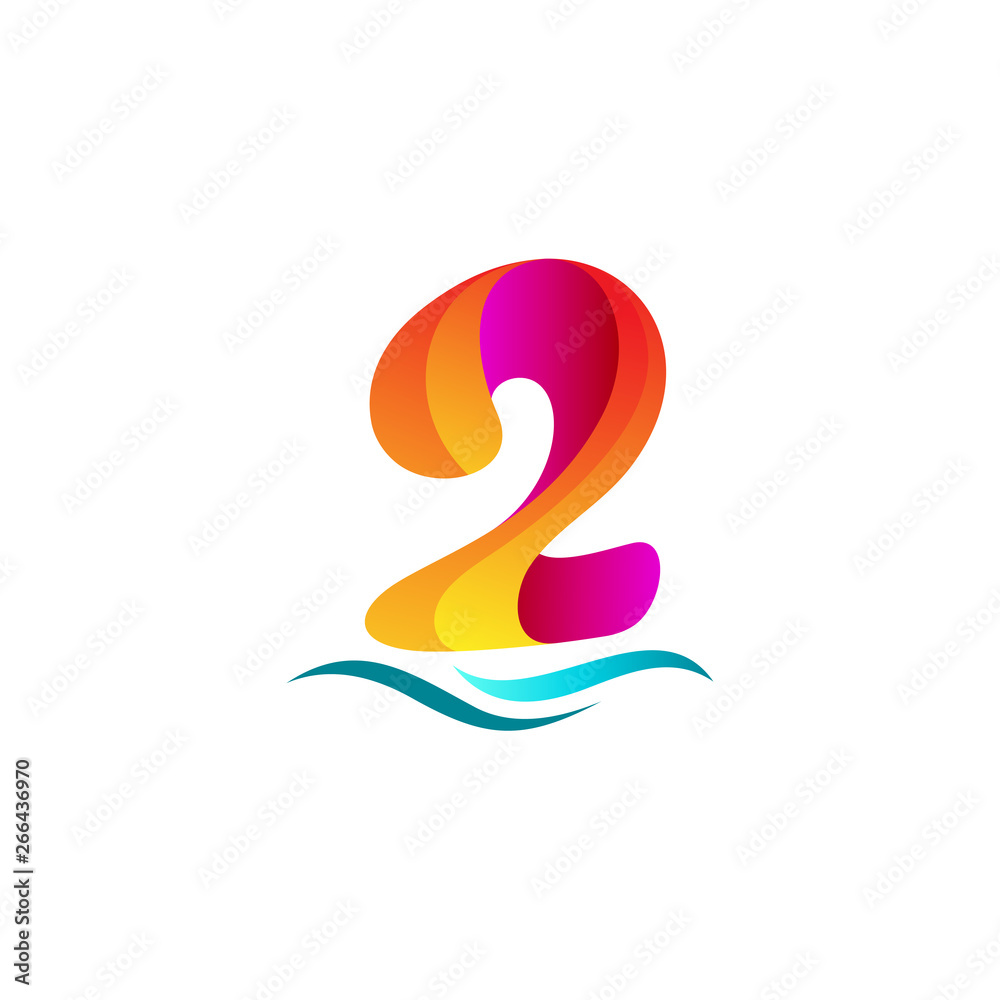 Fototapeta Number logo design, logo 2 vector template, number and wave icon