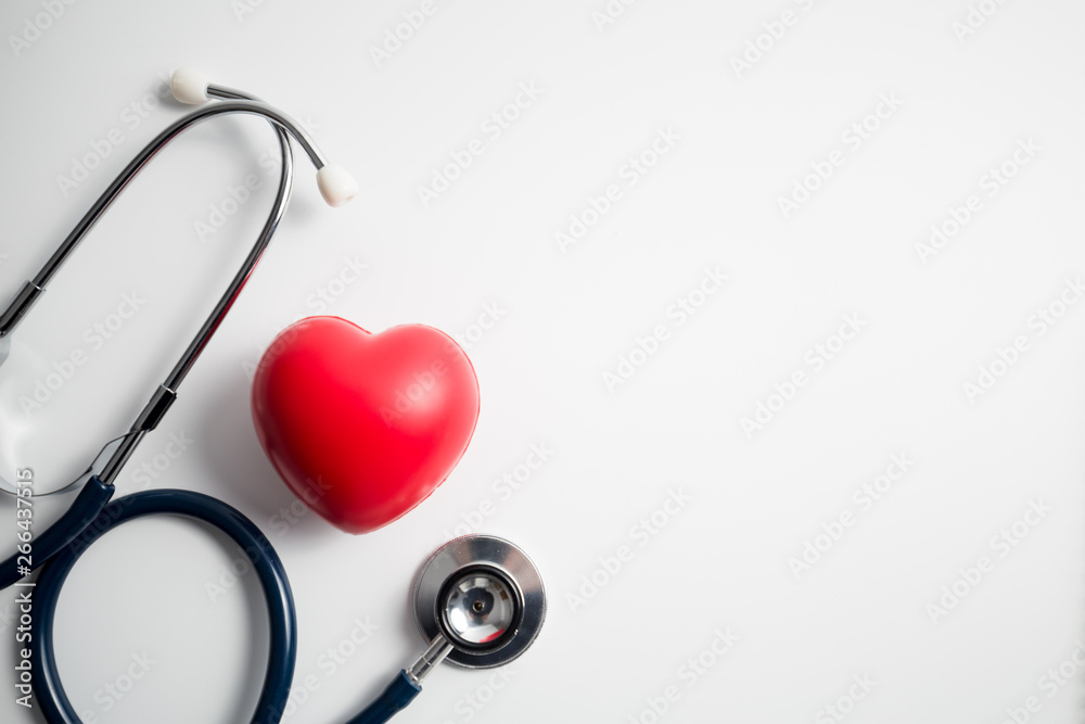 Fototapety, obrazy: Red heart with stethoscope on white background