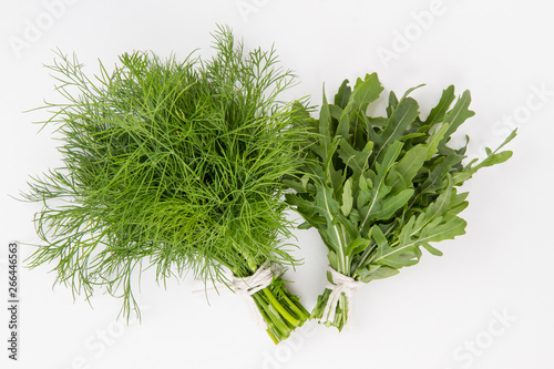 Garden Poster Plant green fresh dill and arugula on a white background. top view