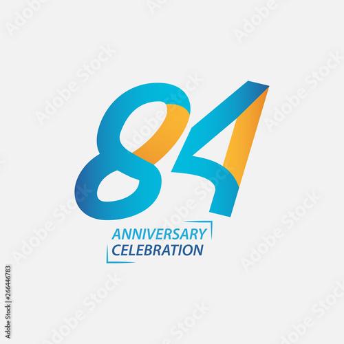 Photo  84 Year Anniversary Celebration Vector Template Design Illustration
