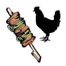 焼き鳥と鶏・筆絵