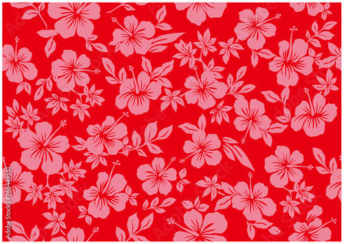 Seamless hibiscus illustration pattern, red ,background image of southern country and hawaii and tropical image   apparel, textile