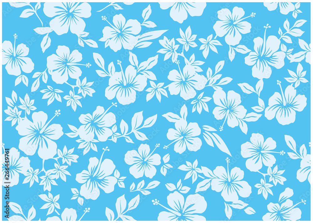 Fototapeta Seamless hibiscus illustration pattern,light blue,  background image of southern country and hawaii and tropical image | apparel, textile