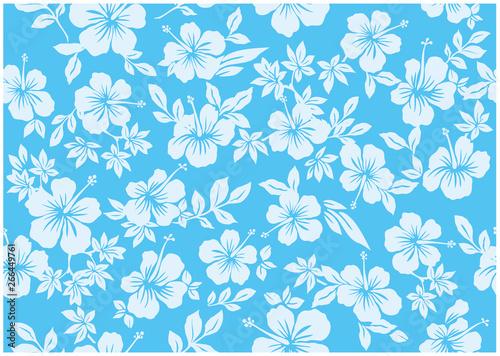 Jednolite wzór ilustracji hibiskusa, jasnoniebieski, obraz w tle kraju południowego i hawajów i obraz tropikalny | odzież, tekstylia