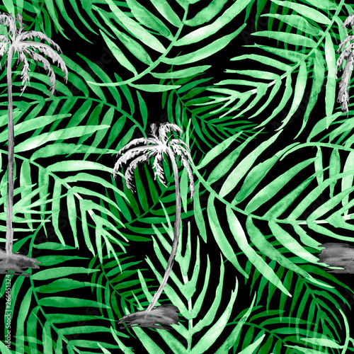 Ingelijste posters Tropische Bladeren Seamless watercolor background from green tropical leaves, palm leaf, floral pattern. Bright Rapport for Paper, Textile, Wallpapern. Tropical leaves watercolor. Exotic tropical palm tree