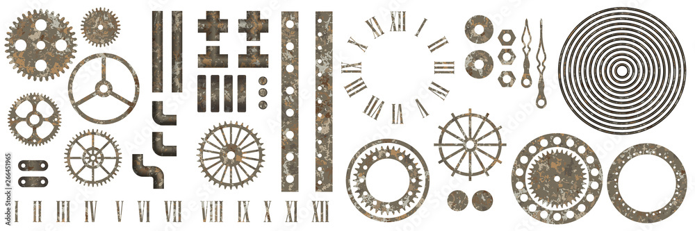 Fototapeta Big set of steampunk gear collection with rust texture