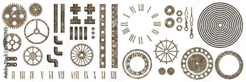 Big set of steampunk gear collection with rust texture Wallpaper Mural