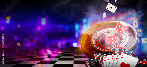 Vászonkép Casino element banner isolation over colorful background, 3D rendering