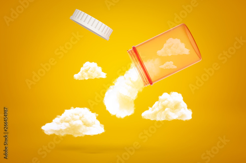 3d rendering of transparent orange medicine jar tilted down in air with white fluffy clouds emerging out of it on yellow background Canvas Print