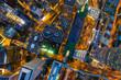 Aerial view of Hong Kong urban city at night