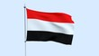 Flag of the country Yemen flutters against the blue sky. 3D rendering