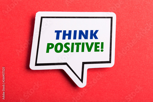 Think Positive Speech Bubble Isolated On Red Background Canvas Print