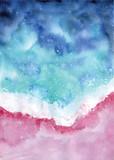 widok z góry akwarela plaży streszczenie seascape ilustracja - 266458164