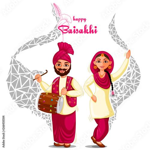 Obraz na plátně vector illustration of Greetings background for Punjabi New Year festival Vaisak