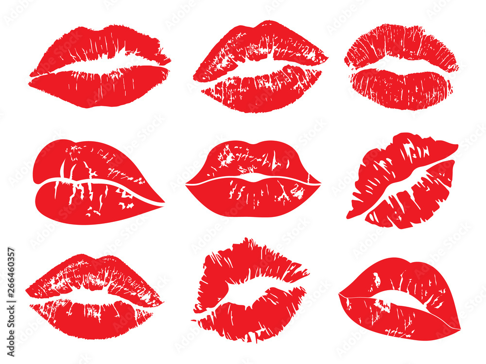 Fototapety, obrazy: Print of lips kiss vector background