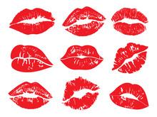 Print Of Lips Kiss Vector Back...