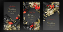 Tropical Black And Gold Leaves On Dark Background Vector Poster Set Beautiful Botanical Design With Golden Tropic Jungle Palm Leaves, Exotic Red Flower Wedding Ceremony Invitation Card, Holiday Sale