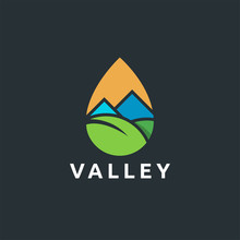 Modern Abstract Valley And Leaf Landscape Logo Icon Vector In Water Droplet With Flat Logo Style Design