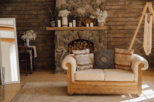 Chalet Cozy Interior Wooden Sofa and Fireplace. Rustic Home ...