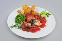 Plate With Sardines Tomatoes A...