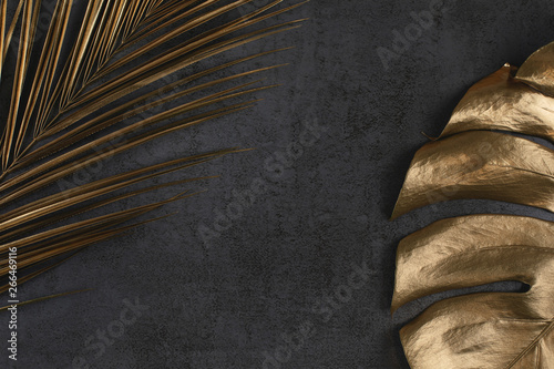 Fotomural  golden palm and monstera leaves on dark grey background