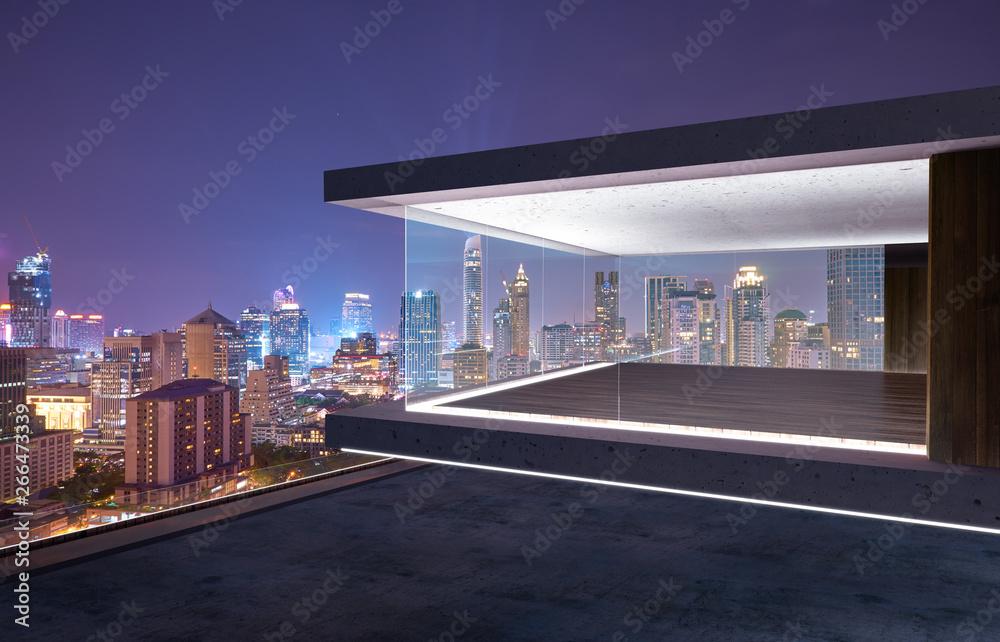 Fototapety, obrazy: Empty glass wall balcony with city skyline view . Night scene .Mixed media .