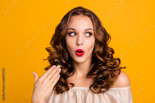 Fotografie, Obraz  Close up photo modest girlish teen teenager astonished discount impressed incred