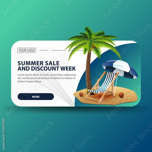 Summer sale and discount week, horizontal banner with modern design, palm tree, beach chair and beach umbrella Fototapete