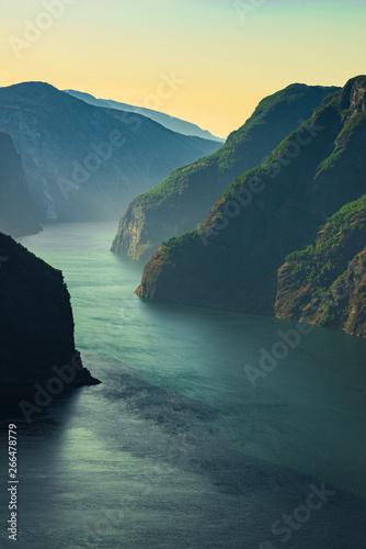 Montage in der Fensternische Blau türkis Fjord landscape Aurlandsfjord in Norway