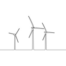 Continuous One Line Wind Farm. Wind Turbines. Horizontal Axis Wind Power Plant. Vector Illustration.