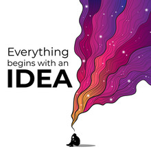 Vectors Hand Draw Illustration Of Thinking Silhouette Of Man With Colorful Cosmic Imaginary Fluid Wave On White Background With Motivation Quotes Everything Begins With An Idea