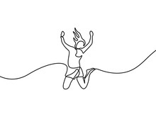 Continuous Line Drawing Woman Jumps For Happy. Vector Illustration.