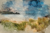 Watercolor painting of Beautiful Summer sunrise landscape over yellow sandy beach - 266481385