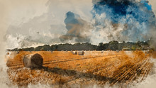 Watercolor Painting Of Beautiful Countryside Landscape Image Of Hay Bales In Summer Field During Colorful Sunset