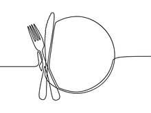 Continuous Line Drawing Plate, Khife And Fork. Vector Illustration.