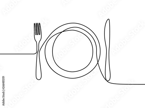 Fototapeta One continuous line plate, khife and fork. Vector illustration. obraz